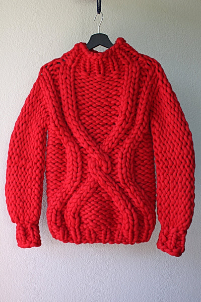 Hand Knit Sweater - Red