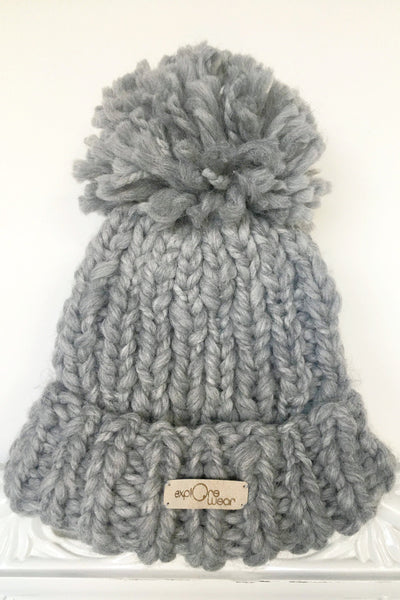 Hand-Knitted Chunky Hat - Grey