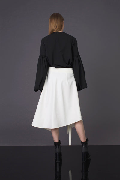 White Asymmetrical Wrap Front Skirt