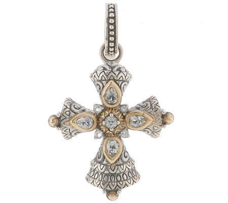 Barbara Bixby Sterling Silver 18K White Topaz Cross Enhancer Pendant