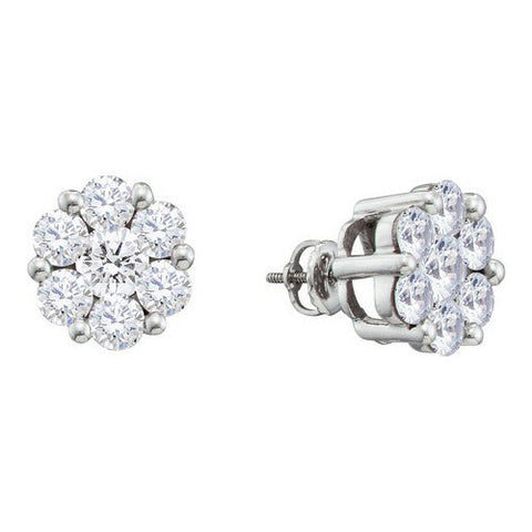 Sparkling! 2 CT Diamond Flower Stud Earrings ~ 14k White Gold Screw Backs