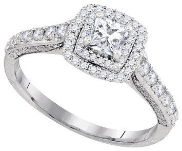 Ladies Luxury Designer 14k White Gold 1.00 Cttw Princess Cut Diamond Engagement Ring