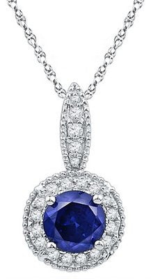 "18"" 10k White Gold 1.65 CT Diamond & Sapphire Pendant  Necklace"
