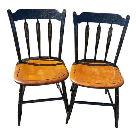 Two Vintage Painted Hitchcock Dinning / Side Chairs