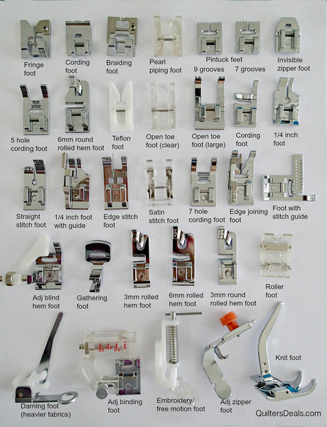 Presser Feet Guide QuiltersDeals Gorgeous Types Of Sewing Machine Feet