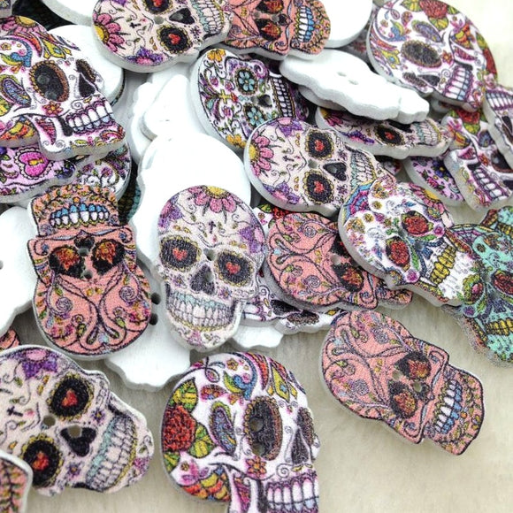 Skull Head Wood Buttons - 100pcs