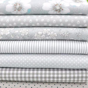 "Grey 100% Cotton Fabric Cuts (7pc of 15.7"" x 19.7"")"