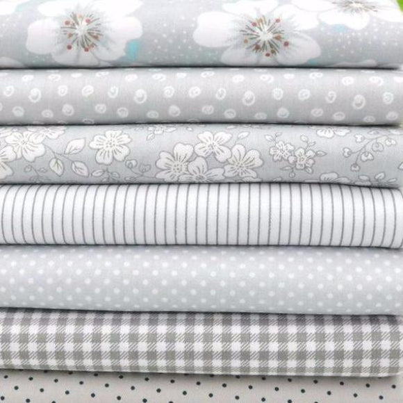 Grey 100% Cotton Fabric Cuts (7pc of 15.7