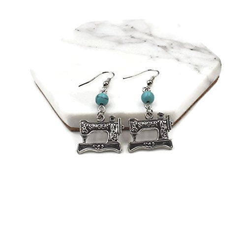 Vintage Sewing Machine Drop Earrings