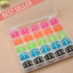 Colorful 25pc Bobbins + Storage Case