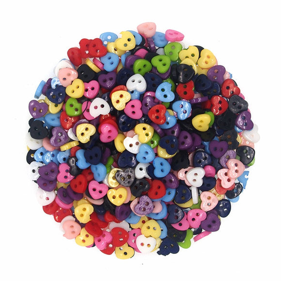 Brilliant Heart Resin Buttons - 6mm - 100pcs