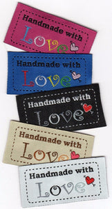 Handmade With Love Fabric Labels- 100pcs/Pack