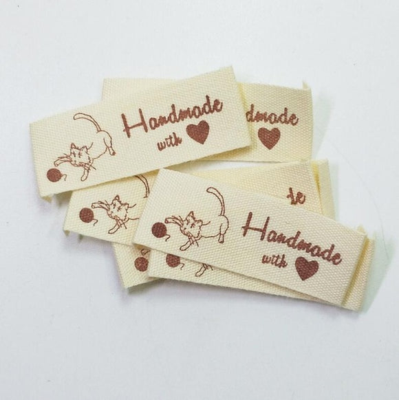 Beige Handmade With Love Labels  - 100pcs/Pack