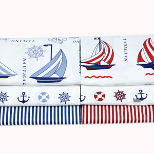 "Nautical Print Cotton Fabric - 15.7"" x 19.7"" - 6pcs/Pack"