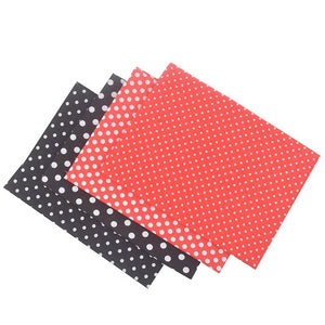 "Black & Red Polka Dots Cotton Fabric - 19.7"" x 19.7"" - 4pcs/Pack"