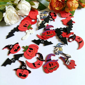 Red Halloween Wooden Buttons - 120pcs/Pack