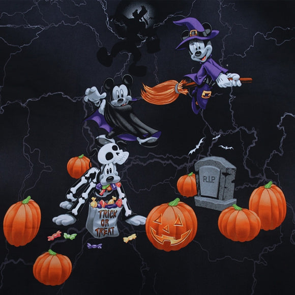 Mickey Mouse Trick Or Treat Print Cotton Fabric - 27.56