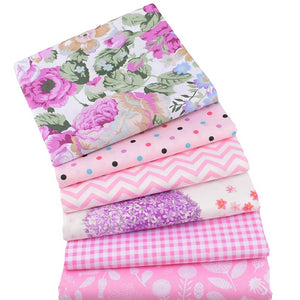 "Cute Pink Printed Collection Twill Cotton Fabric - 15.7"" x 19.7"" - 6pcs/Pack"
