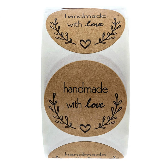 Handmade With Love Sticker Seal - 500pcs/Roll