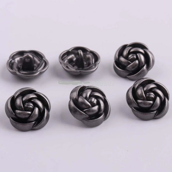 Gunmetal Vintage Rose Shape Buttons - 10pcs/Pack