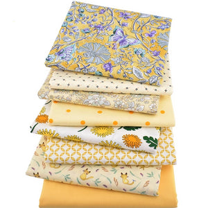 "Sweet Baby Yellow Designs Twill Cotton Fabric - 15.7"" x 19.7"" - 8pcs/Pack"