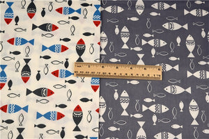 "White & Gray Fish Prints Twill Cotton Fabric - 19.7"" x 15.7"" - 2pcs/Pack"