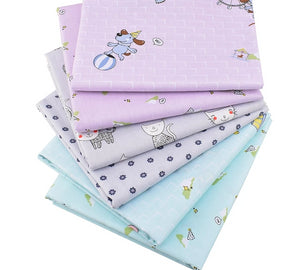 "Blue & Lavender Kiddie Prints Collection Twill Cotton Fabric - 15.7"" x 19.7"" - 6pcs/Pack"