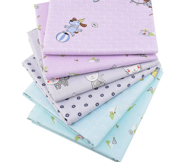 Blue & Lavender Kiddie Prints Collection Twill Cotton Fabric - 15.7