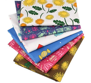 "Sunflower, Candy & Circus Print Twill Cotton Fabric - 15.7"" x 19.7"" - 6pcs/Pack"