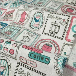 "Coffee Is Life Cotton Linen Fabric - 19.7"" x 59"""