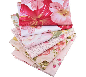"Beautiful Flower Print Twill Cotton Fabric - 15.7"" x 19.7"" - 6pcs/Pack"