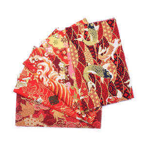 "Printed Red Series Cotton Fabric - 9.8"" x 9.8"" - 5pcs/Pack"