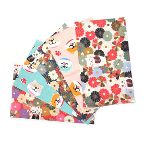"Dog & Lucky Cat Print Cotton Fabric - 9.8"" x 9.8"" - 5pcs/Pack"