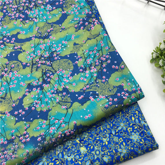 Blue-Green Flower Print Twill Cotton Fabric - 19.7