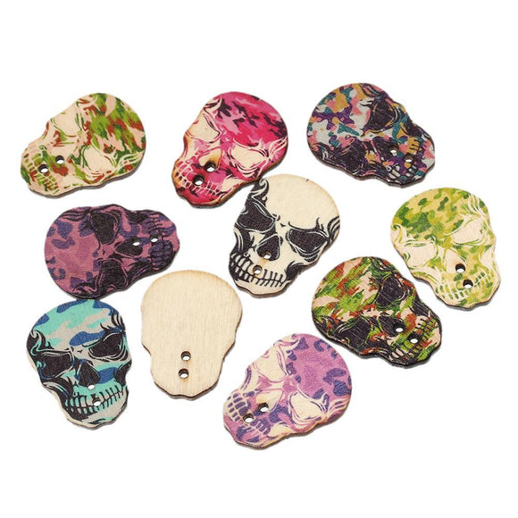 Wooden Camou Skull Buttons - 100pcs/Pack