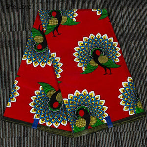"Peacock Flower Print African Cotton Fabric - 35.8"" x 45.2"""