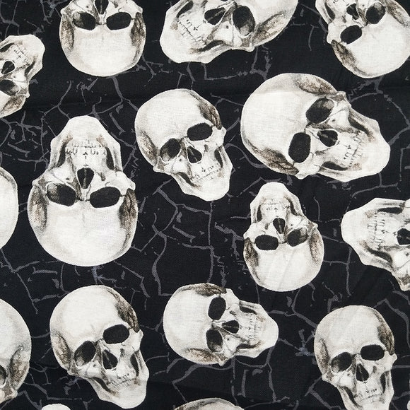 White Skull Head Cotton Fabric