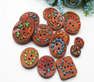 Hand Threading Wooden Buttons - 30pcs/Pack