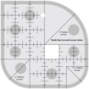 Non-Slip Multi-Size Curved Corner Quilting Ruler