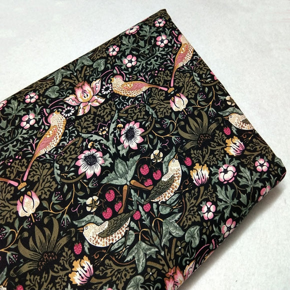 Vintage Birds & Flowers Print Twill Cotton Fabric - 19.7