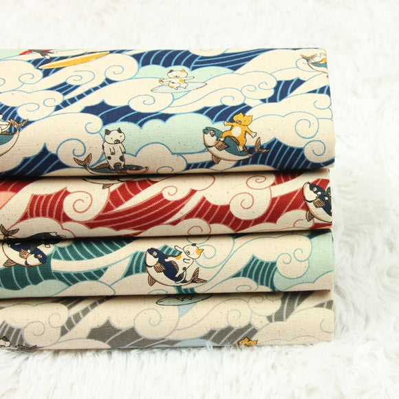 Japanese Sea Wave Cat Print Cotton Fabric - 17.7