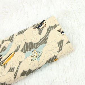"Japanese Sea Wave Cat Print Cotton Fabric - 17.7"" x 43.3"""