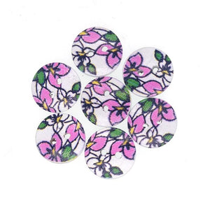 Pink Flower Wooden Buttons - 20pcs/Pack