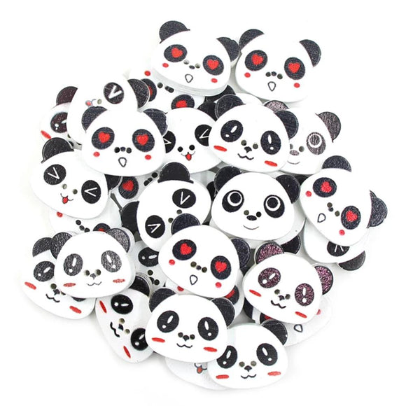 Cute Panda Wooden Buttons - 50pcs/Pack