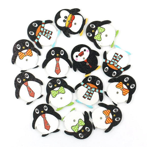 Penguin Wooden Buttons - 50pcs/Pack