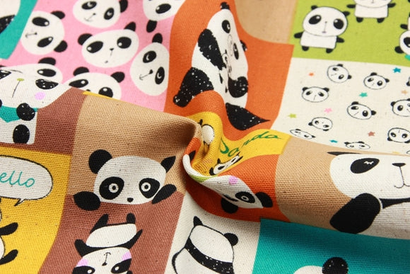 Cute Panda Print Cotton Fabric - 39