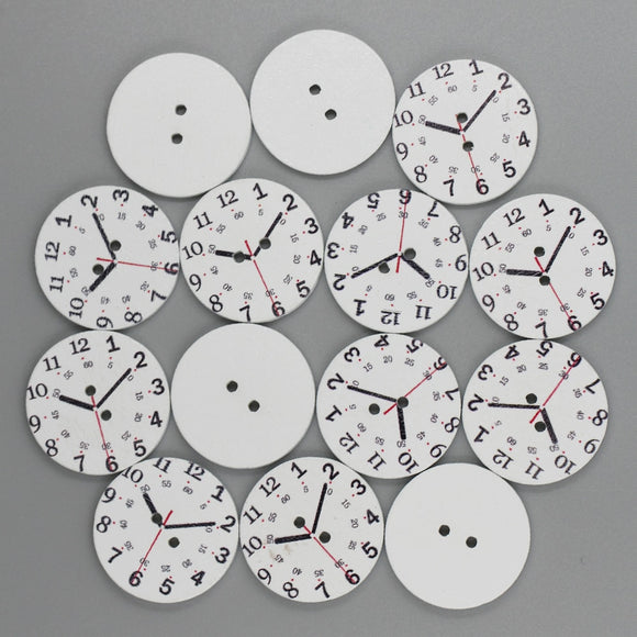 Clock Wooden Buttons - 50pcs/Pack