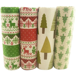 "Christmas Snowflakes & Pine Tree Print Cotton Linen Fabric - 17."" x 17.7"" - 4pcs/Pack"