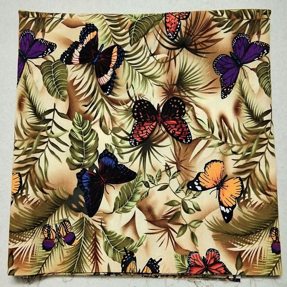 Colorful Butterfly Print Twill Cotton Fabric - 19.6