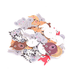 Decorative Animals Wooden Buttons - 50pcs/Pack